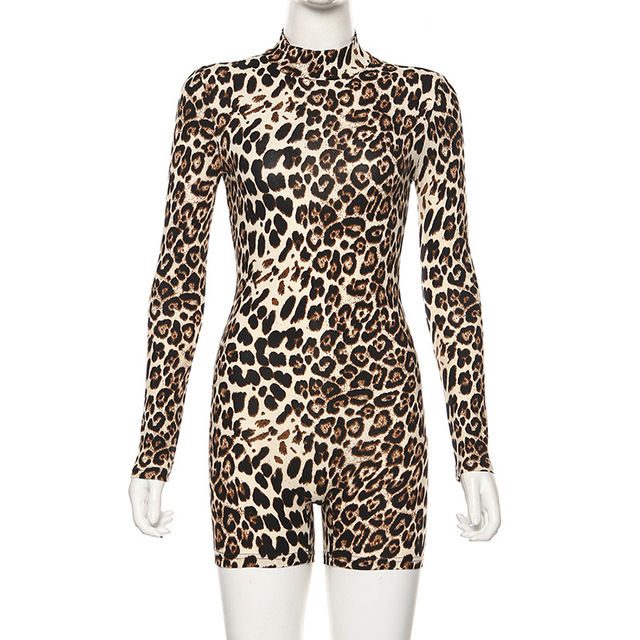 ANJAMANOR Cheetah Print Sexy Rompers Playsuit Fall Clothes for Women Clubwear High Neck Long Sleeve Bodycon Jumpsuit D83-I62 6