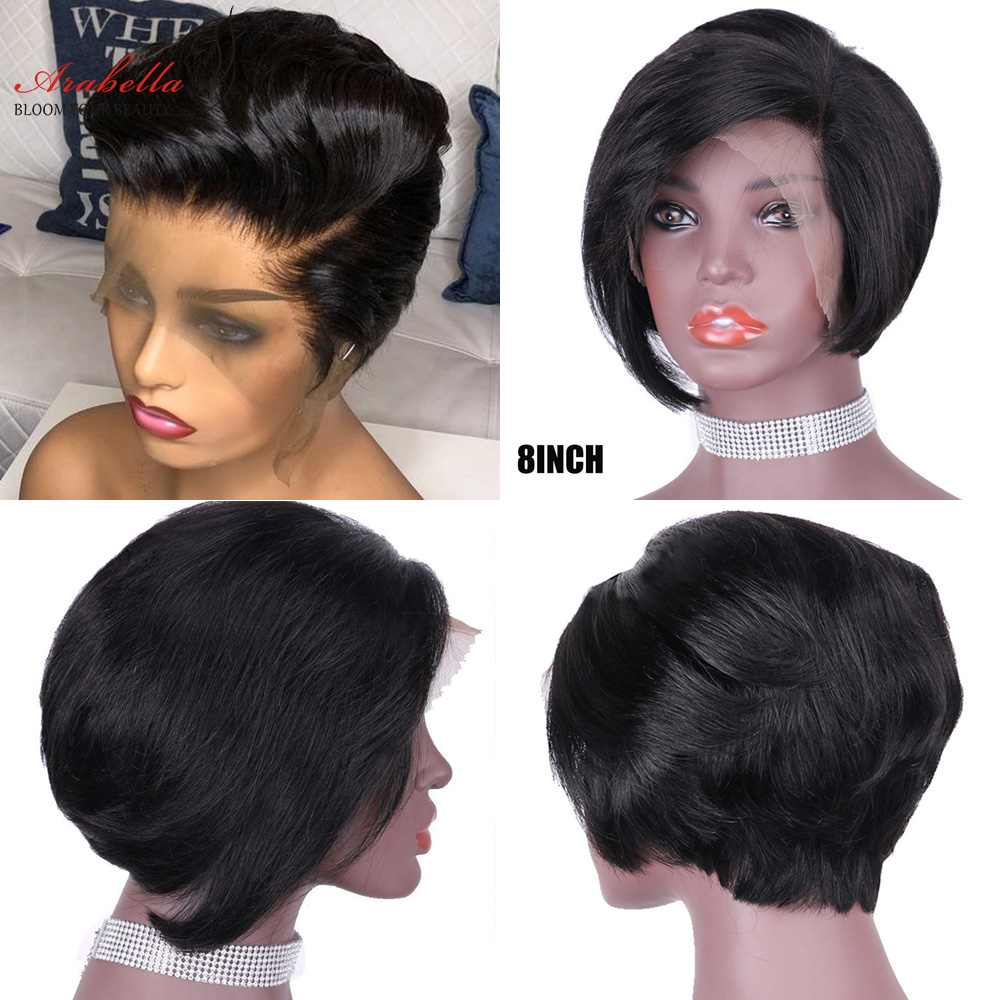 13x4 Pixie Cut Bob Wig Straight  Hair Lace Front Wig With Baby Hair Arabella Pre Plucked Lace Front Bob Wig 4