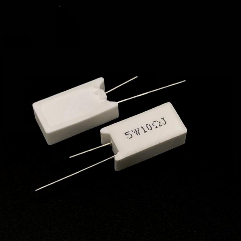 5 Pcs 5W Vertical Cement Resistance 0.05 ~ 100K Ohm 5% 0.1R 0.15R 0.22R 0.25R 0.39R 0.47R 1R 10RJ 100R 150R Ceramic Resistor