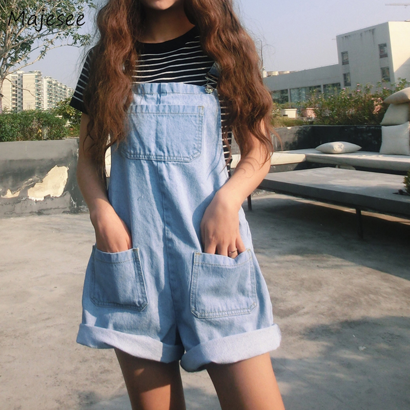 Rompers Women Classic Denim Solid Kawaii Girls Playsuit Student Korean Style All-match Casual Harajuku Ulzzang Daily Womens Chic