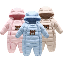 цены Fashion Winter Warm Hooded Cartoon Baby Girls Boys Rompers Cotton Filler Newborn Baby Clothing Kids Outfits For 3-24 Months