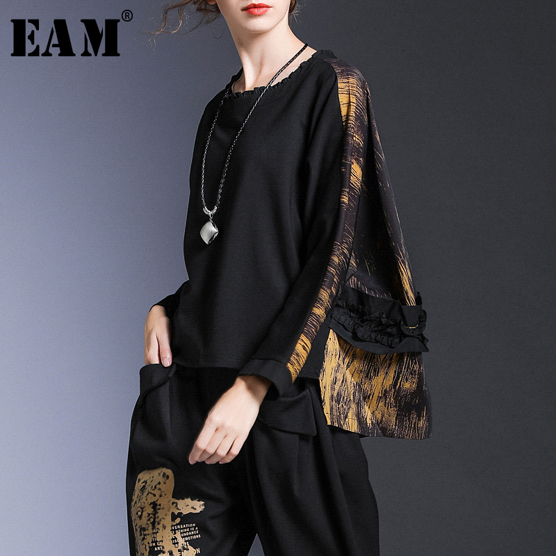 [EAM] Loose Fit Back Pattern Oversized Sweatshirt New Round Neck Long Sleeve Women Big Size Fashion Spring Autumn 2020 1D912