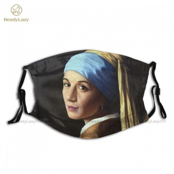 Cloth Fun Erika With A Pearl Earring Mouth Face Mask Sublimation Fast Shipping Adult Facial Mask With Filters image