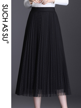 New Spring Summer Autumn Casual Mesh Skirt Women Black Mid Long Pleated Elastic Waist Plus Size S-3XL Ladies Elegant