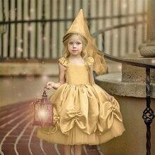 Girls Princess Dress Up Dresses Gold Slings Knees Tutu Dress Birthday Carnival Party Fashion Sweet Baby Girl Sleeveless Dresses cute fashion summer bubble tutu girl charm baby girls princess dresses ruffles party sleeveless pink dress 1 6y 2016