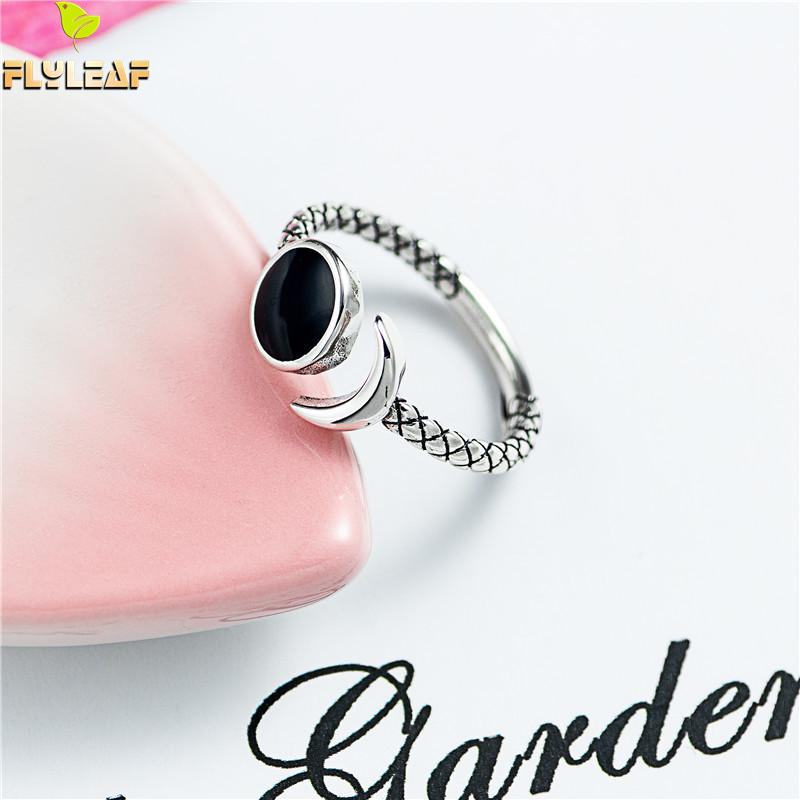 Black Dripping Glaze 100% 925 Sterling Silver Rings For Women High Quality Fine Jewelry Open Ring Vintage Wholesale Flyleaf