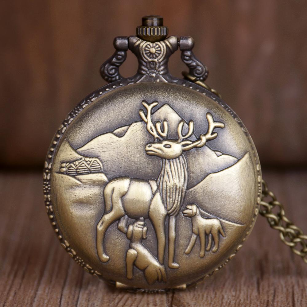 Fashion  Bronze Canada Deer Pattern Quartz Pocket Watches Men Women Watches With Fob Chain