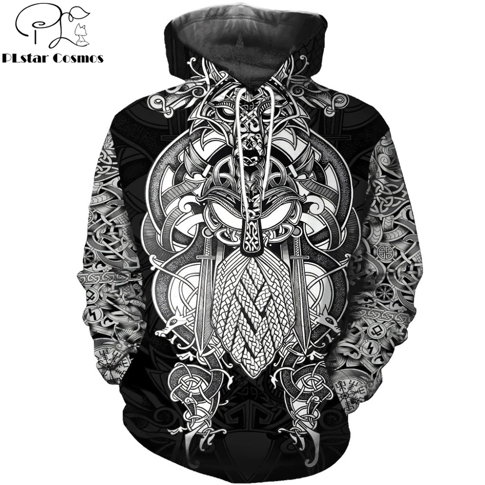 2019 New Fashion Men Hoodies 3D All Over Printed Viking Tattoo T-shirt/Hoodie Costume Unisex Casual Tracksuit Streetwear WS-478
