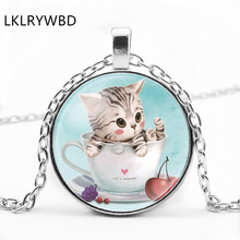 LKLRYWBD / Sleek Minimalist Cat Pendant Necklace Popular Cute Ear Round Glass Jewelry