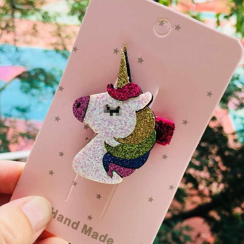 Moda Unicorn glitter karikatür saç tokası yıldız saç tokaları unicorn gökkuşağı kızlar için saç klipleri tokalarım kafa bandı saç aksesuarları