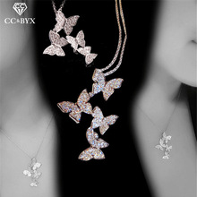 CC Necklaces Pendants For Women S925 Sterling Silver Butterfly Cubic Zirconia Clavicle Chain Fine Jewelry Drop Shipping CCN706