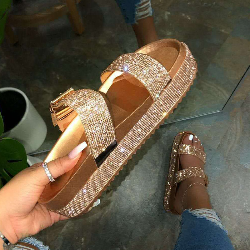Fashion Gold Crystal Women Sandals Ladies Summer Shoes Comfortable Toe Ankle Hollow Sandals Black Flat Sandals Sandalias Zapatos