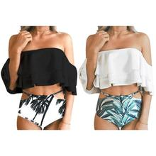 2pcs Floral Swimwear Women Summer Sexy Solid Color Swimsuit Bikini Slim Set