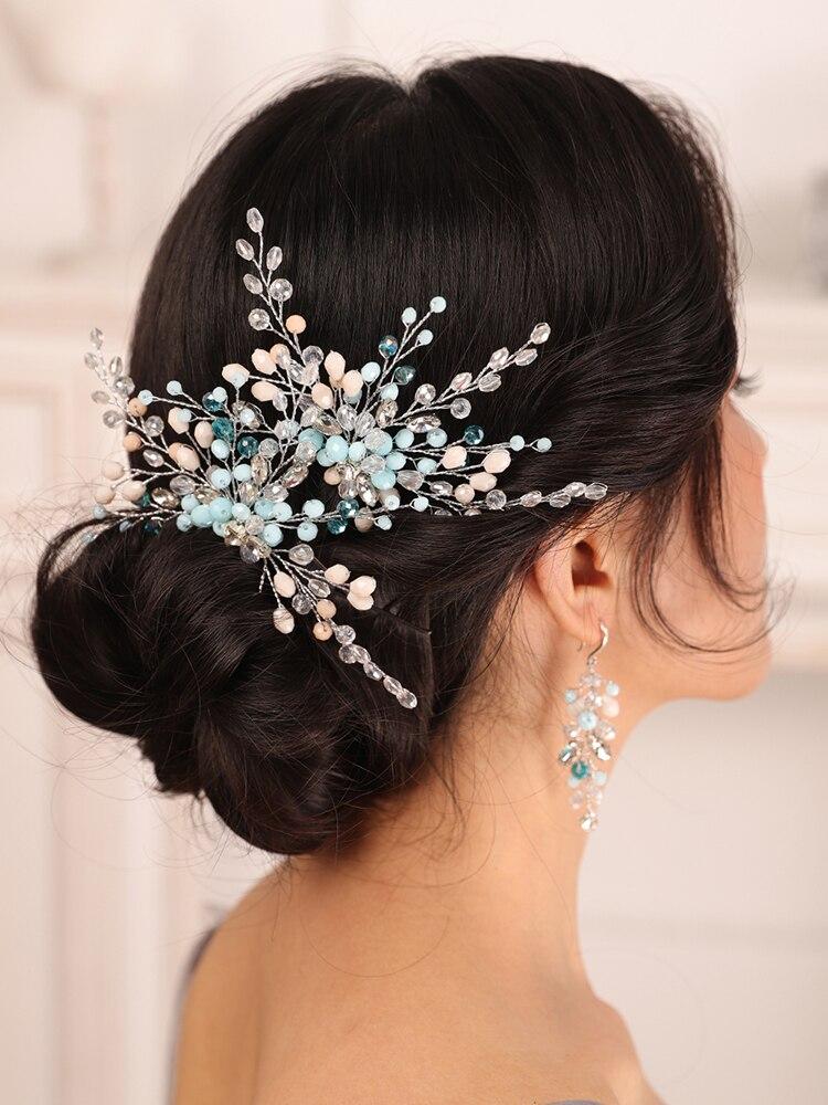 Набор свадебных аксессуаров для волос Bohe, синий кристалл горного хрусталя, Шпилька и серьги для невесты, женские Украшения для волос, свадеб...