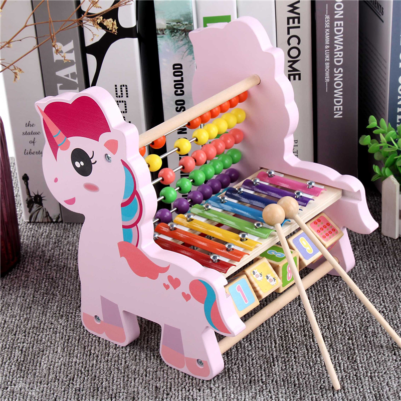 Wooden Unicorn Toy Multi-Function Octave Knocking Piano Calculation Frame Children\'S Educational Beaded Early Education Toys