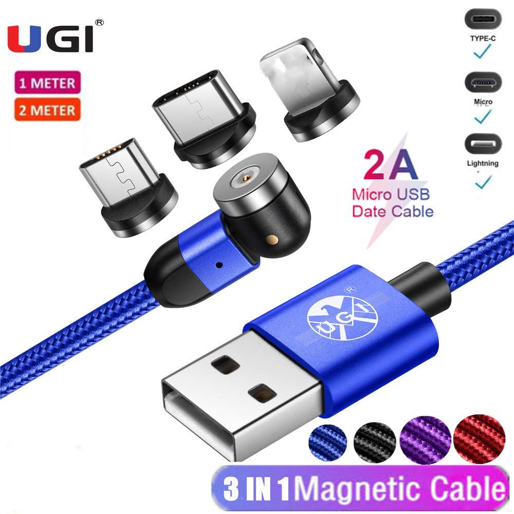 3 IN 1 Micro USB & IOS& USB-C 1M 2M 540 °2A Quick Charging Magnetic Cable Fast Charger Strong Long Magnet Cable