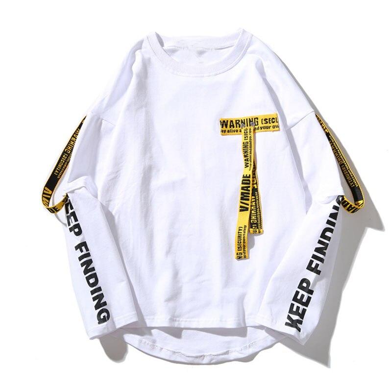 SHENGYUJIN T-shirt hommes 3d chemise impression lettre ruban Harajuku coton à manches longues Punk T-shirt mode décontracté hauts t-shirts 8578