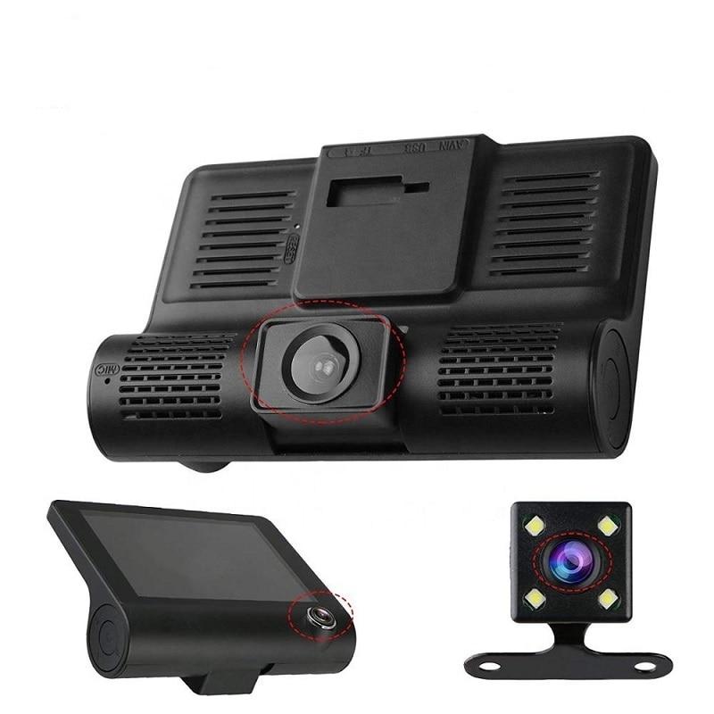HD Night  Car Dvr Dash Cam 4.0 Inch Video Recorder Auto Camera 3 Camera Lens With Rear View Camera Registrator Dashcam DVRs 4