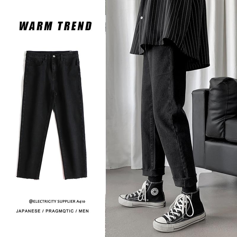 Black Jeans Men Slim Fit Streetwear Denim Trousers Men Fashions Loose Casual Ankle Length Pants