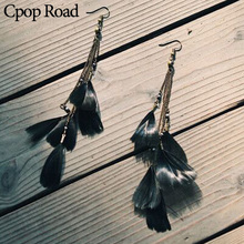 купить Cpop Boho Black Feather Tassel Earrings for Women Long Ethnic Chain Statement Drop Earring Feather Jewelry Accessories Gift 2019 дешево