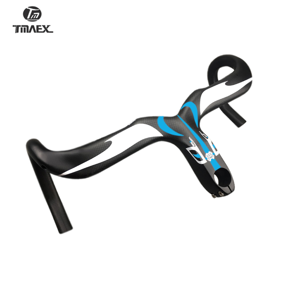 TMAEX Carbon Handlebar integrated Bicycle Handlebar With Full Carbon Rod Reach Matte 75MM Drop Red Blue 3K Matte Ultra light in Bicycle Handlebar from Sports Entertainment