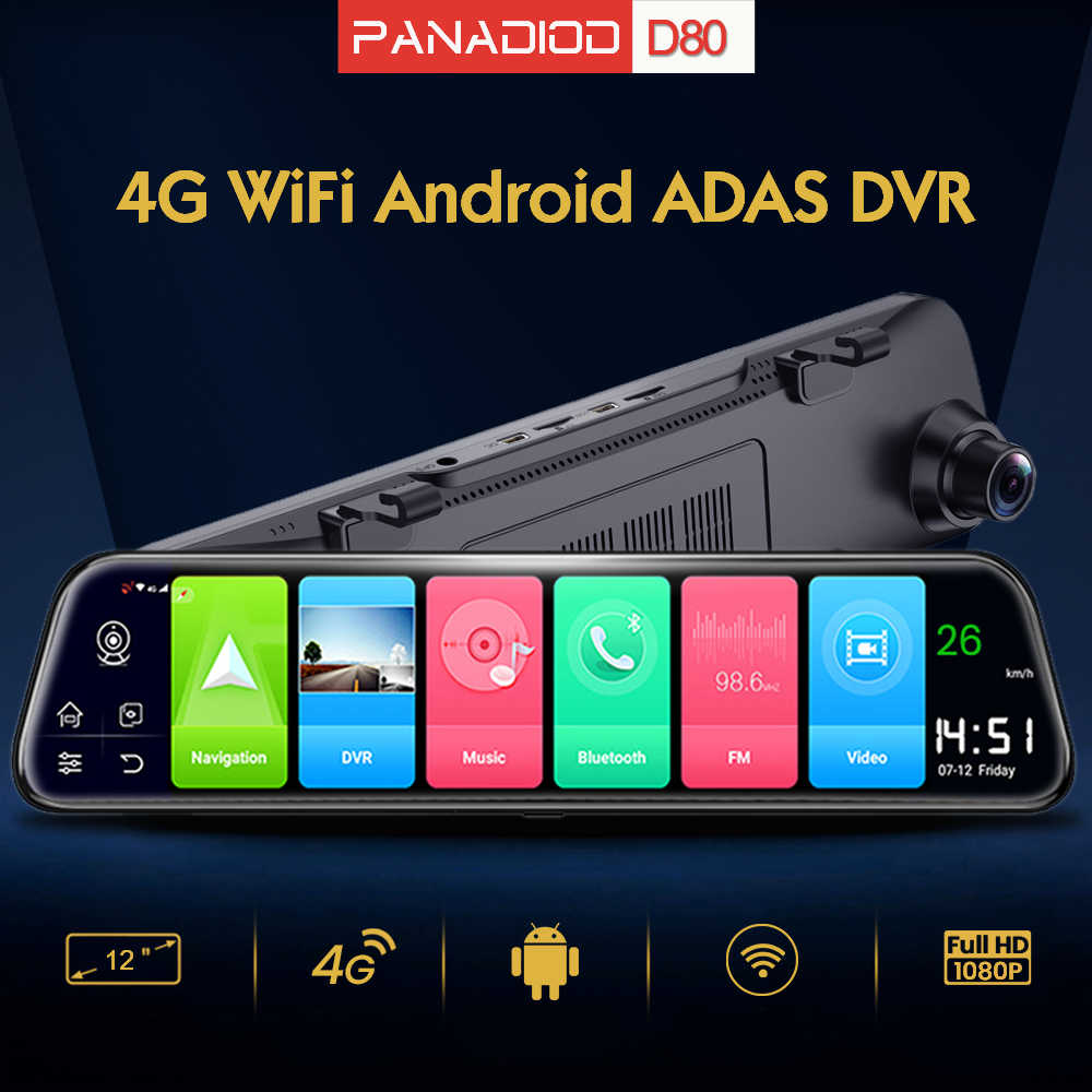 4G Android Mobil DVR 12 Inch ADAS GPS Navigasi WiFi Mobil Dash Cam Video FHD Auto Perekam Belakang cermin Malam Visi