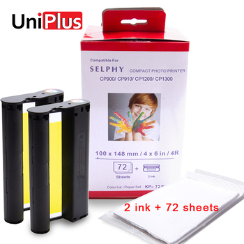 UniPlus Ink Paper Set for Canon Selphy cp1300 Printer Compatible CP1200 CP910 CP900 2 Ink 72 Sheets Photo Paper Color Printing casual canvas handbags portable storage bag men women case for canon selphy cp910 900 1200 digital photo printer