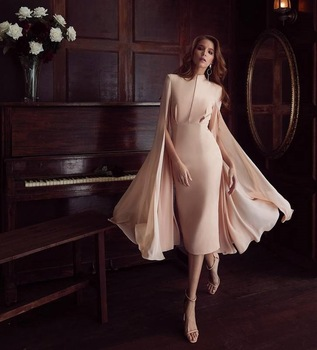 New Arrival Pink Sheath Knee Length Club Casual Party Cocktail Dress with Cloak Sleeves