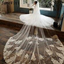 Janevini винтажное кружево два слоя белая Фата невесты с расческой