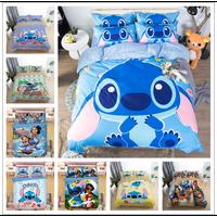 Home Textile Cartoon Stitch Bedding Set Children High Quality Duvet Cover Pillowcases Twin Full Queen King Blue 3d Bedclothes