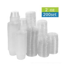 200 Pack of 2-Ounce Disposable Plastic Jello Shot Cups with Lids, Souffle Portion Container, 2 oz-200 Sets, Clear