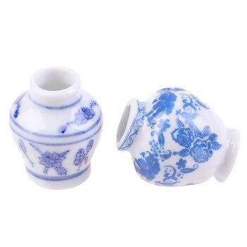 1 Set(2pcs) Mini Blue and white porcelain vase DIY Handmade Doll House Kitchen Ceramic Ornament Decora vase Dollhouse Miniatures 1