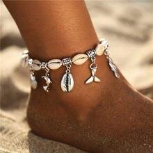 Boho tornozeleira feminina vintage, tornozeleira boho com cauda dolphin, multicamadas, pé, bracelete, joia para mulheres