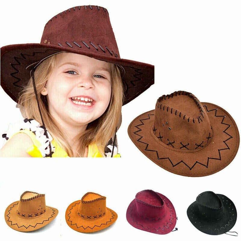レトロユニセックス帽子デニム野生西カウボーイカウガールファンシードレスアクセサリー帽子女性男性ファッションキャップカウボーイハットベビーガールズボーイズ帽子
