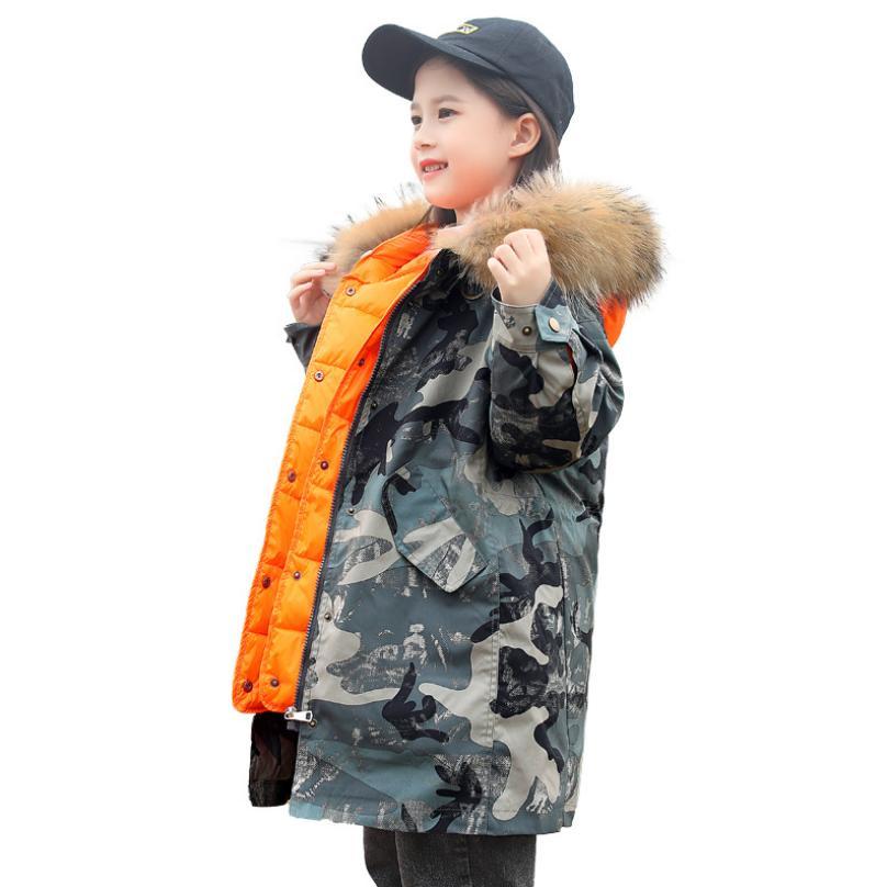 Abrigo de camuflaje para niños abrigo de plumón de gran tamaño abrigo de plumón de pato de piel Real Parka Modis chaquetas de plumón para niños ropa de abrigo Y2307