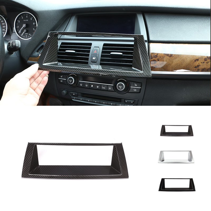 For <font><b>BMW</b></font> X5 X6 <font><b>E70</b></font> E71 2007 - 2013 Car Carbon Fiber Style <font><b>Interior</b></font> Dashboard Panel Navigation Screen Frame Cover Replacement <font><b>Trim</b></font> image