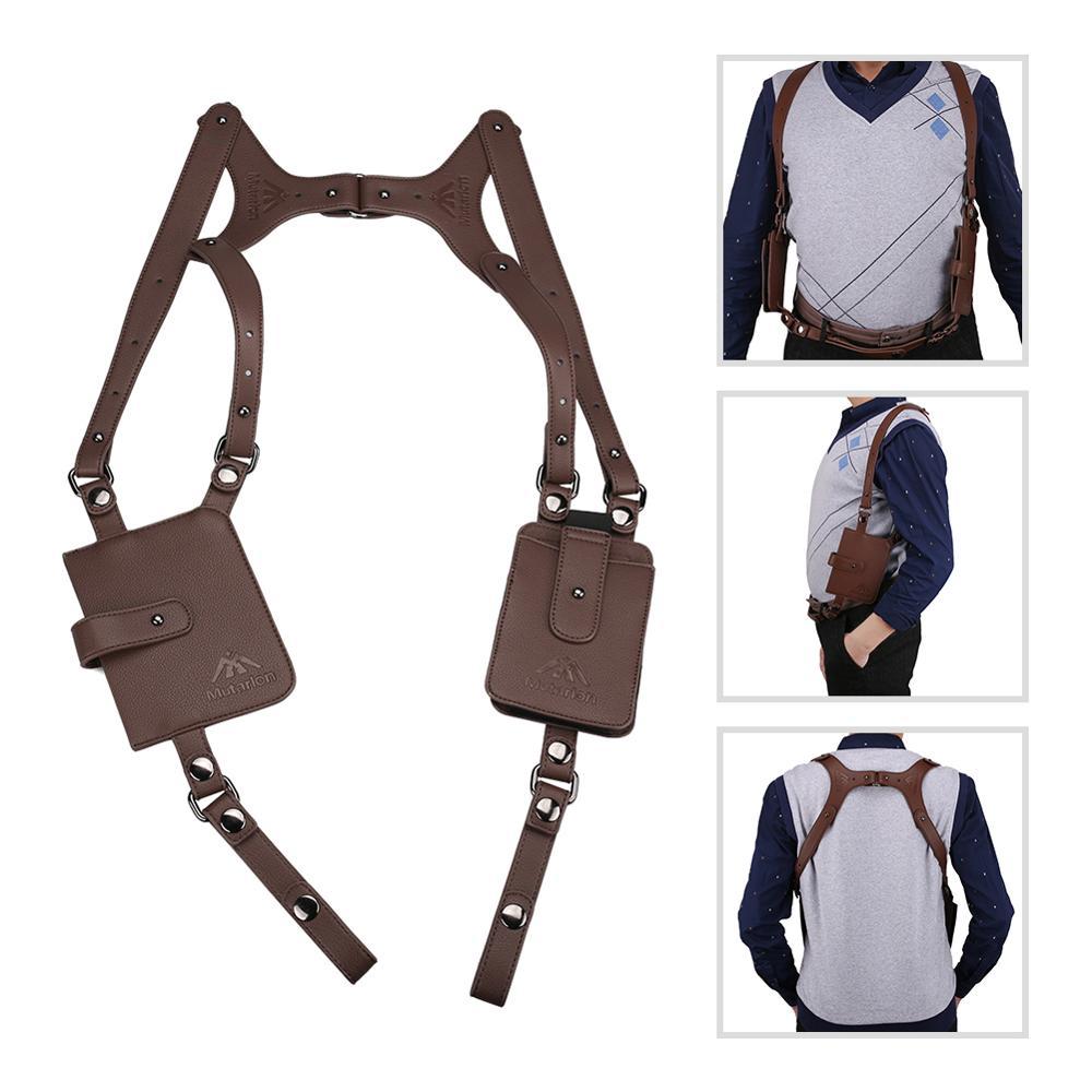 Black Cow Leather Anti-theft Hidden Underarm Holster Shoulder Wallet Phone Bag
