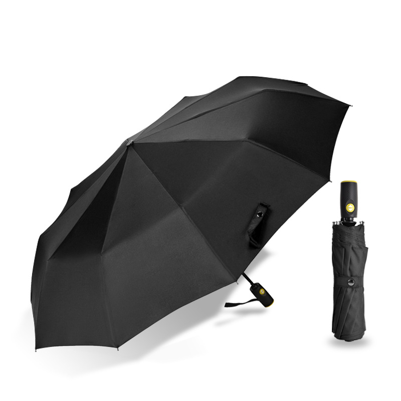 Fully Automatic Umbrella Men's Folding Business Pure Color Triple Automatic Umbrella 10K A Key Gift Advertising Umbrella Customi