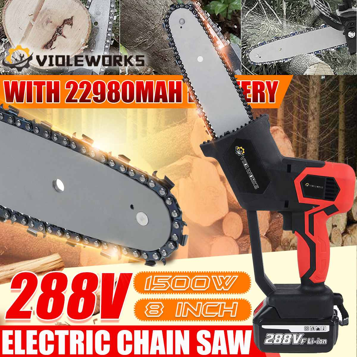 8 inch 1500W 288V Electric Saw Rechargeable Chainsaw Brushless Motor with 2PC Battery One-Handed Wood Cutter For Makita Battery