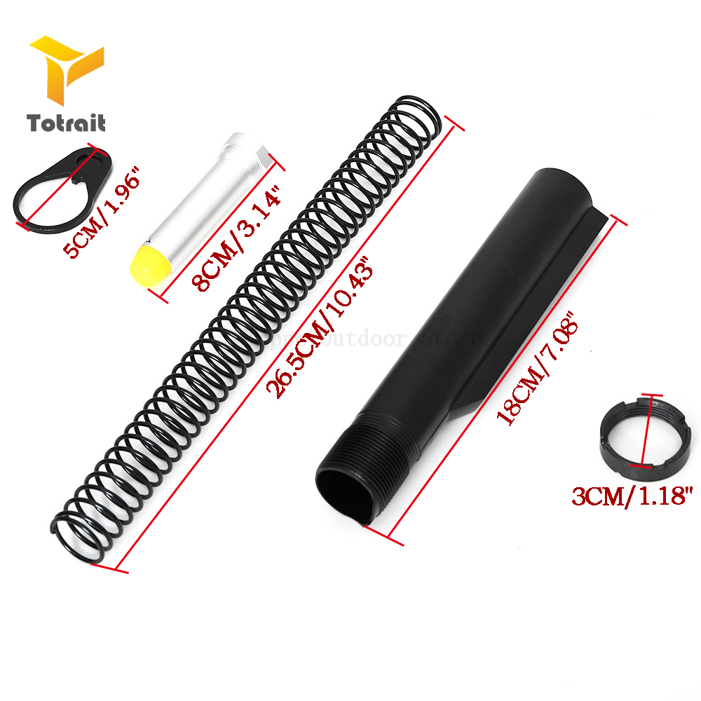 TOtrait AR15 M4 Latch Mil-spec 6 Position Buffer Extension Tube Rod Assembly/Kit 5 Items Combo Cylinder Rod End Plate Spring Nut