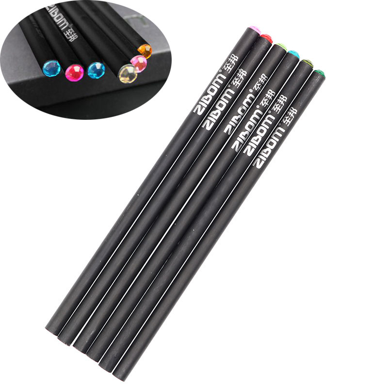 6pcs/Set Of Art Painter Black HB Pencils With Colorful Diamonds Kawaii Drawing School Children Pencil Office Stationery