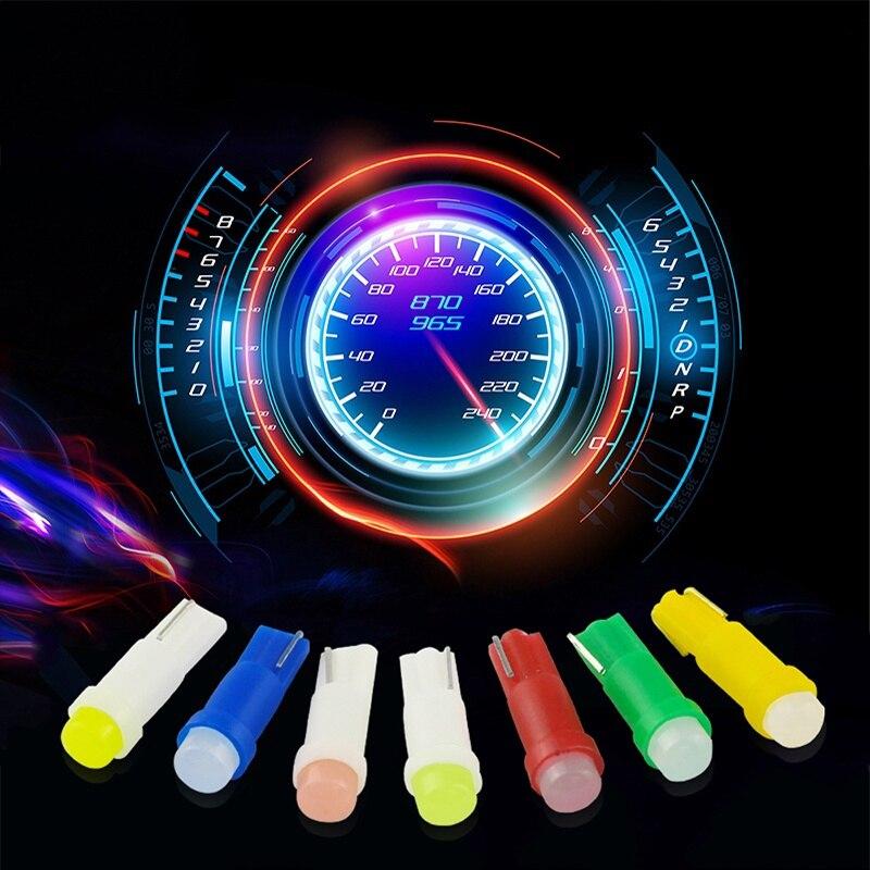 10Pcs Car LED Bulb T5 1SMD Car Cob LED Instrument Light Indicator Bulb Car Light Automotive Interior Ambient Light Car Accessory
