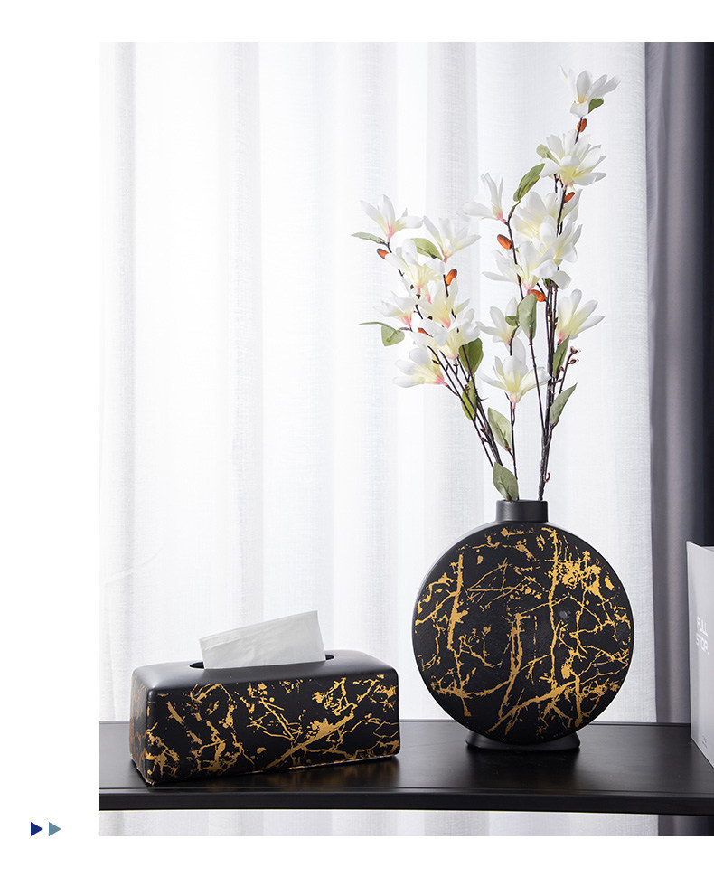 Nordic Ceramic Vase Marble Texture Black Gold Pattern Round Vases Artificial Flowers Floral Flower Arrangement Home Decor Modern