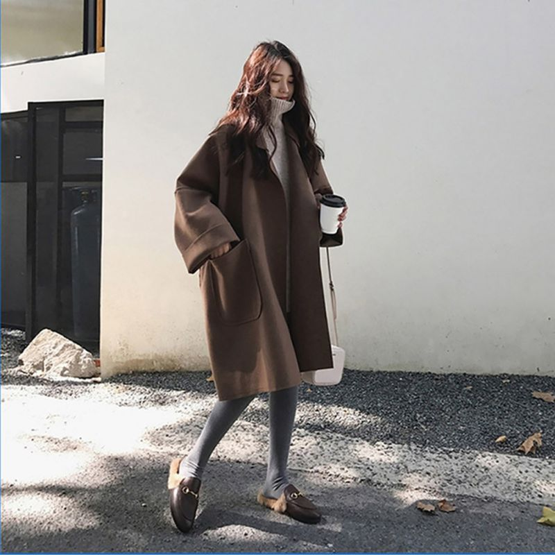 2019 Autumn Women Elegant Loose Woolen Trench Coat Lady Winter Casual Warm Long-sleeved Overcoat