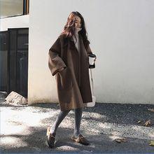 2019 Autumn Women Elegant Loose Woolen Trench Coat Lady Winter Casual Warm Long-
