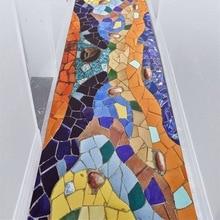 3D colorful Tile corridor Strip floor mat Bedroom living room kitchen carpet plush printed non-slip rug custom made floor mat uhommi flamingos rainforest plants printed skidproof floor mat