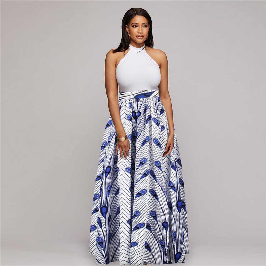 Afrika baskı 2020 haber Dashiki Bazin balmumu elbise etekler afrika elbiseler kadınlar için seksi etekler uzun kollu geleneksel giyim