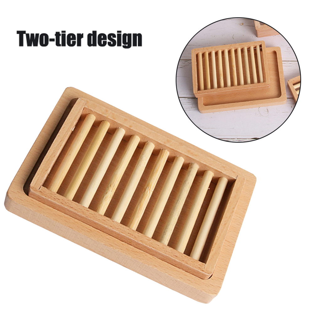 Wooden Soap Dish Reusable Kitchen Wash Soap Storage Holder Household Smooth Soap Plate Stand Box