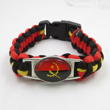 Infinito amor angola bandeira pulseira artesanal angola paracord pulseira moda feminino e masculino jóias