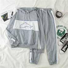 Mooirue Autumn Hooded Women Two Piece Outfits Dolphin Print Harajuku Casual Tops Letter Long Pants Vintage Tracksuit